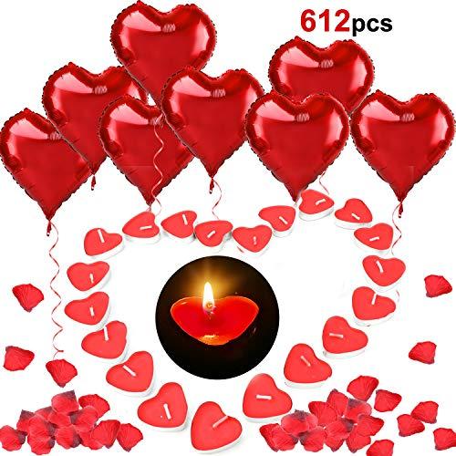 HOWAF 12pcs 18 Zoll Rotes Herz Ballon mit Helium, 100pcs Liebesherz Kerzen, 500pcs Rot Rosenblüten für Valentinstag Hochzeit Verlobung Party Dekoration Romantisch Ideen Artikel