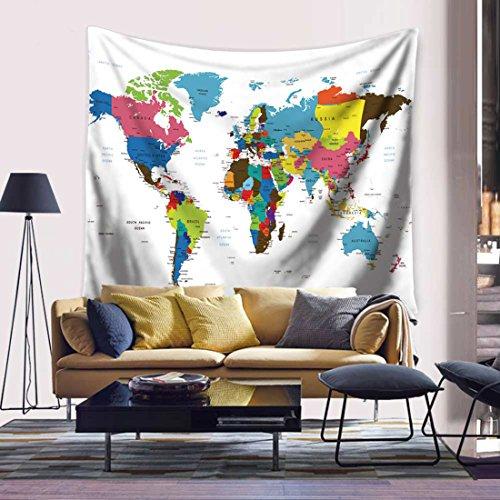 Watercolor World Map Tapestry Wall Hanging Tapiz de Pared Colgante Tapices Indio Mandala Tapiz Hippie Alfombra de Picnic Manta de Playa Manteles Pared del dormitorio Arte 59 x 90.5 pulgadas