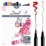 Set Pennarelli Acquerellabili Con Doppia Punta A Pennello - Pennarelli A Punta Fine E Grossa In 12 Colori - Brush Pen A Due Punte Ideale Per Lettering, Calligrafia, Bullet Journal - Mozart Supplies