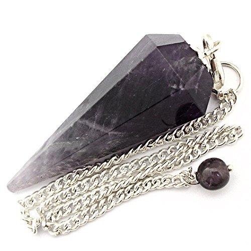 Pendolino de cristallo, pendolo di pietra preziosa per radioestesia, divinazione e cristalloterapia (ametista)