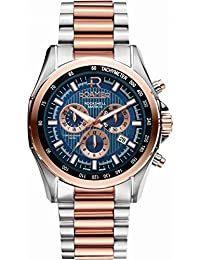 Roamer Rockshell Mark III Men's Quartz Watch with Blue Dial Chronograph Display and Rose Gold Stainless Steel Rose Gold Plated Bracelet 220837 49 45 20
