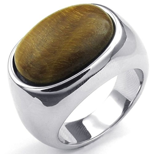 Adisaer Herren Ring Edelstahl Oval Steine Ringe Silber Für Männer Ring Größe 71 (22.6) (Ringe Der Ringgeister Herr Kostüm Der)