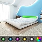 SENLUOWX - Struktur Bett mit LED 140x 200cm Kunstleder weiß