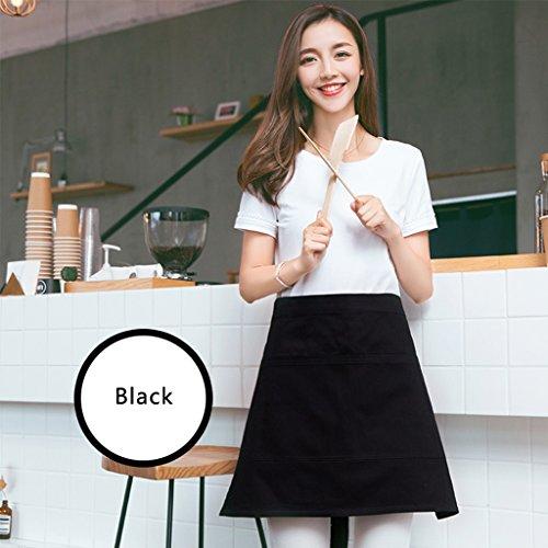 Rasieren Milch (GUO YUN Professionelle Qualität Schürze Halber Körper koreanischer Art-Art- und Weisekellner-Milch-Tee-Geschäft-Mann-und Frauen-Taillen-Kaffee-Geschäft-Arbeits-Kleidung Köche Bistro Metzger ( Farbe : Schwarz ))