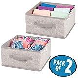 mDesign 2er-Set Aufbewahrungsbox aus Stoff – für Ordnung im Kleiderschrank – Stoffkiste in Leinen-Optik für Kleidung, Accessoires und mehr – beige