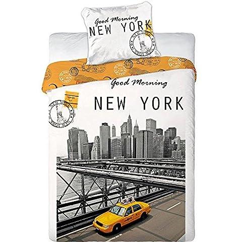 Taxi New York linge de lit housse de couette 140x200 + Taie 70x90 parure 100% Coton, lit 1 personne