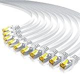 10 x 0,5m - CAT.7 Plat Câble réseau | Ethernet Gigabit Lan Câble avec 600 MHz | fiches RJ45 | 10 / 100 / 1000 Mo/s | U / FTP Blindage | compatible cat.5 / cat.5e / cat.6 | switch / router / modem / Access Point | blanc