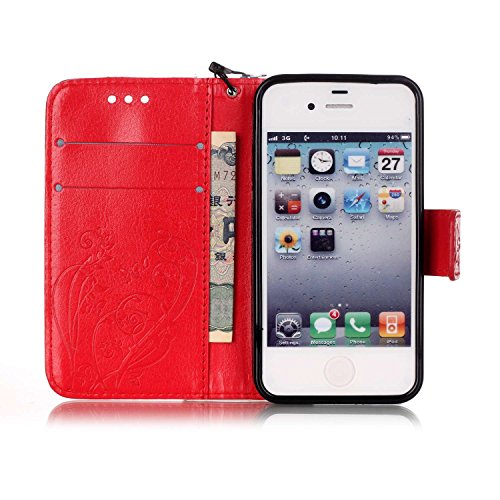 JIALUN-Telefon Fall Mit Kartensteckplatz, Lanyard, Druck Schöne Muster Mode Open Handy Shell Für IPhone 4 4S ( Color : Gold , Size : IPhone 4S ) Red