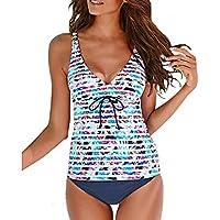 Luckycat Conjunto de Bikini a Rayas para Mujer, Sexy 2 Piezas Tops de Beachwear de Las Muchachas y Cortocircuitos del Triángulo Traje de Baño Acolchado Push-Up Cintura Alta Vendaje