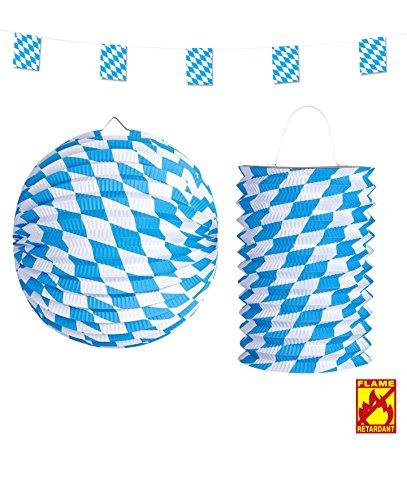 Preisvergleich Produktbild 3 Teile SET - BAYERN - flammhemmend, Oktoberfest Deko Wiesn Bayrisch Raute