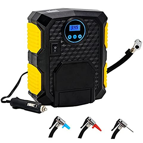 Air Compressor Tyre Pump portable - Almondcy YY3609 Portable Electric Auto Digital Air Compressor Kit For Car Tyre, Bikes, Motorcycle, Balls, Air Cushion Including 3 Nozzle Adaptors and 1 Spare Fuse, 2 in 1 Function (Tire Inflation and Lighting), Heavy-Duty