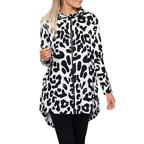 Soupliebe Damen Langarm Leopard Print Reißverschluss Mode Mantel Strickjacke Mit Kapuze Oberteile Jacken Mäntel Sweatjacke Winterjacke Fleecejacke Steppjacke -