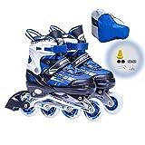 Patines en Línea Zapatos De Patinaje De Una Sola Fila para Niños Patines De Ruedas para Principiantes, Zapatos De Patinaje De Velocidad Ajustable (Azul)