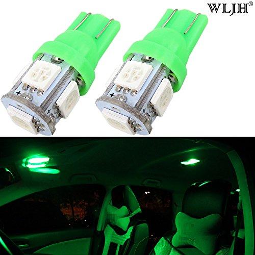 WLJH T10 Wedge 5-SMD 5050 LED Ampoules W5W 168 158 194 192 pour Voiture Dôme Carte Plaque D'immatriculation Tronc Instrument Panneau Lumières Lap (10pcs, vert)