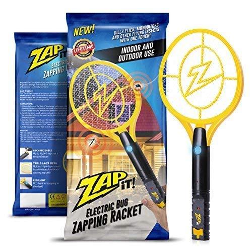 Colpisci con ZAP IT!! Fulmina-insetti - Racchetta elettrica ricaricabile insetticida scaccia mosche e zanzare, carica USB 4.000 Volt, luce LED superluminosa per colpire al buio