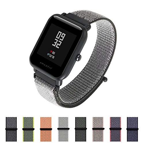 ght Breathable Replacement Sport Loop Strap for Almost All The 20mm Width Watch lugs Such as: Amazfit Bip Younth, Huawei Watch 2, Ticwatch 2 ()