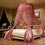 MZ Umbrella Netze, Decke Prinzessin Windbett Begnadigungen installiert Verschlüsselung Single Doppelbett allgemeine Moskitonetze (Farbe : Red Bean, größe : 120 * 280 * 1260cm)