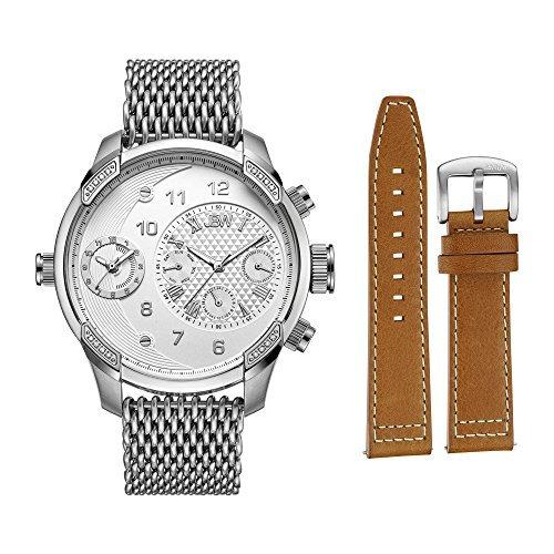 JBW hombre j6355-seta G3mundo viajero conjunto 0,16quilates diamante de acero inoxidable reloj