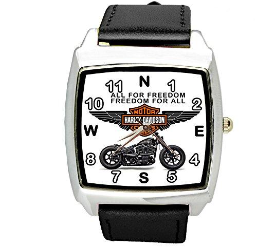 Taport® Harley Davidson Motor Quartz Square sport Black Watch Band + batteria di ricambio libero + free Gift bag