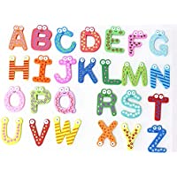 Gobus 26 Piezas Letras de Madera magnética Pegatinas Aprendizaje temprano Alfabeto Educativo imanes de Nevera