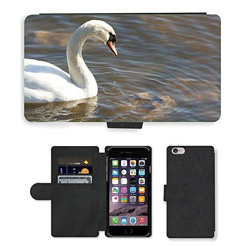 Just Mobile pour Hot Style Téléphone portable étui portefeuille en cuir PU avec fente pour carte//m00140005Eau Cygne Muet Profil Cygnes Oiseaux//Apple iPhone 6Plus 14cm