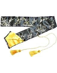 Bolsa De Seda Negra con Flores de Oro