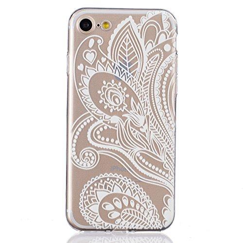 SainCat Custodia per Apple iPhone 7 Cover,Ultra Slim trasparente TPU Crystal Clear Morbido Copertura Case Cover per iPhone 7,Disegni Lusso Vans Belle Creative Marvel Fantasia Campanula Puro Trasparent Bianco-fiore met¨¤