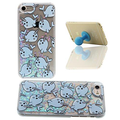 iPhone 7 Custodia Apple iPhone 7 4.7 inch Cover Cuori colorati Flusso Duro Trasparente Acqua Liquida Cartone Animato Balena Blu Modello iPhone 7 Case X 1 Silicone Titolare color-2