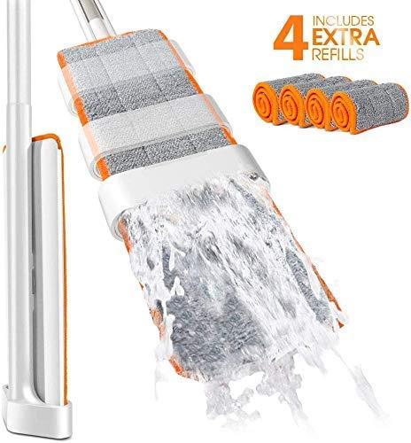 Masthome Flach Mopp EasyWring mit 145cm Teleskopstiel 180 Grad Drehbar,Bodenwischer mit 4 Ersatzkopf Handfrei,Mikrofaser Flach-Mopp mit Abzieher für Haushalt und Büro