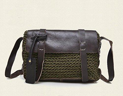 Leder Damentaschen großräumige weibliche Baodan Leder Schulter Handtasche Green