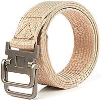 XIANGYINGZHIJIA Cinturón de Lona Cinturón de Hombre Cinturón Cinturón de Aire Libre Cinturón de Hebilla Doble, 100cm, Caqui