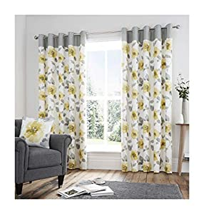 """Watercolour-Style Floral Flowers Yellow Fully Lined 46"""" X 54"""" - 117cm X 137cm Ring Top Curtains by Curtains"""
