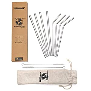 Eco Slurpers Premium Reusable Metal Drinking Straws - Set of 8 with 2 Brushes and 1 ECO Pouch, Perfect for Smoothies, Cocktails, Hot Drinks. Stainless Steel. Plastic-Free Packaging
