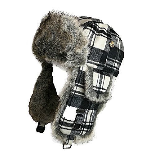 Fell Winter Wolle-Mischgewebe Buffalo Check Kunstfell Aviator Bomber Trapper Trooper Pilot Ski Hat Gr. Medium, schwarz / grau (Trapper Bomber)