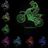 3D Optical Illusion Lampe LED Nachtlichter Motocross Modell, LSMY Touch Tischlampe Haus Dekoration 7 Farben Einzigartige Lichteffekte 1.5m USB Kabel zum Kinder Geschenk