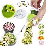 Spiralschneider Hand für Gemüsespaghetti Kartoffel Premium 4 in1 Gemüseschneider manuell Gemüsehobel Zerkleinerer Hobel Für Gemüse Obst (Grün, 7.5 * 8cm)
