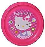 großer Teller - Kinderteller ' Hello Kitty ' - ø 22 cm - aus Kunststoff / Plastikteller Plastik - Geschirr für Kinder - Mädchen - Speiseteller / Kätzchen Katze Miezekatze