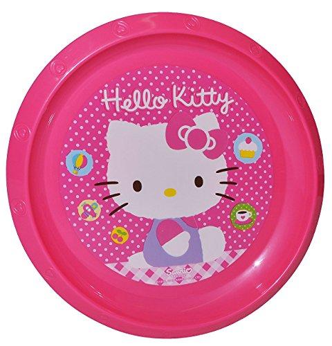 """großer Teller - Kinderteller """" Hello Kitty """" - ø 22 cm - aus Kunststoff / Plastikteller Plastik - Geschirr für Kinder - Mädchen - Speiseteller / Kätzchen Katze Miezekatze"""