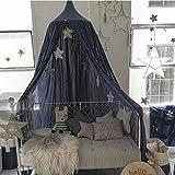 Cystyle Baby Baumwolle Betthimmel Deko Baldachin Mückennetz Moskitonetz Insekten Malaria Schutz Bett-Überdachung für Baby Kinder,Höhe 2,4m (Blau)