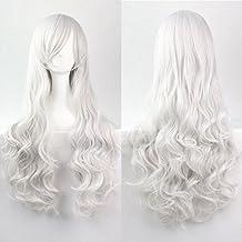 """kissparts 32""""80cm encantador largo rizado de color de plata color blanco Full Sexy peluca con peluca y peine"""
