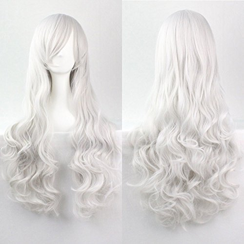 Kissparts 80 cm Reizvoll lang silber weiß Lockige Cosplay Perücke mit kostlosen Perücke Kappe und (Kostüme Einfache Raum)