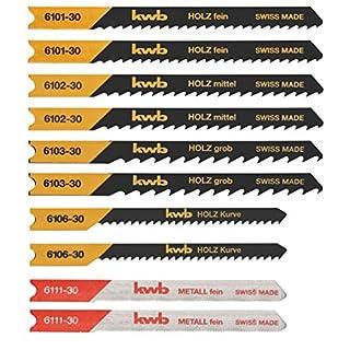 kwb Stichsägeblatt-Satz für Holz und Metall - Sägeblatt-Set, 10-teilig mit Universal-Schaft, Swiss Made
