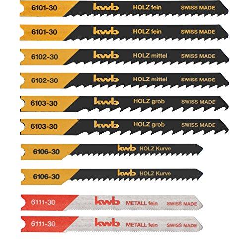 kwb 6170-30 Stichsägeblätter-Set, 10-teilig, Universal-Schaft,