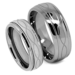 Top Value Jewelry - Matching Tungsten Wedding Band Set, His & Her Laser Etched Infinity Ring Set with a Polished Chrome Finish, Men 8mm (Size 8-15), Women 6mm (Size 5-8) - Half Sizes Available