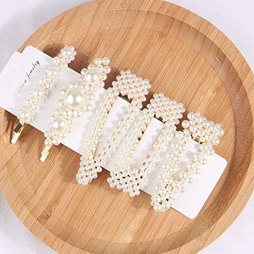 Xiaopangzi 5 stücke Perlen Haarspangen Acrylharz Haarspangen Geometrische Haarspange Haarnadeln für Frauen und Damen (B)