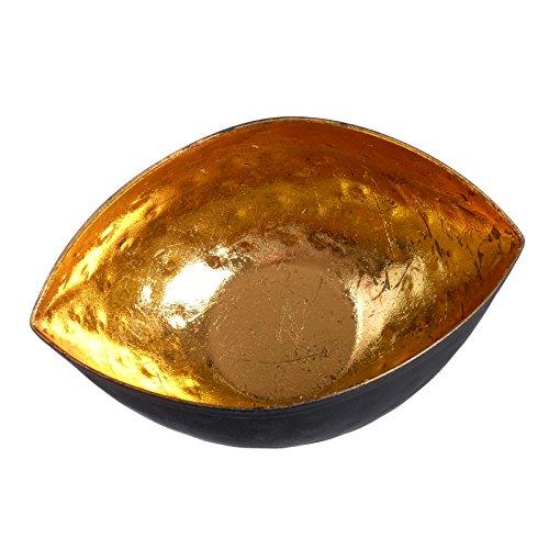 TEELICHT SCHALE TEELICHTSCHALE SCHWARZ GOLD METALL TEELICHTHALTER WEIHNACHTEN WINDLICHT KERZE EDEL + BRILLIBRUM® FLYER -