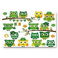 Front Door Entrance Way Doormat Green Owls St. Patrick