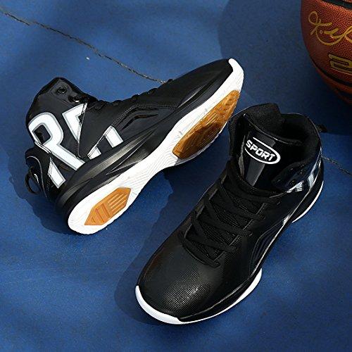 Weweya Chaussure De Basket-ball Haute Couture Pour Homme Chaussure De Course Légère En Tissu De Sport Respirant Noir / Blanc