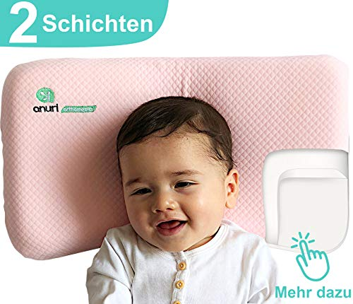 ANURI® | Babykissen gegen Plattkopf und Kopfverformung I 2-SCHICHTEN Protect System | Baby-Kopfkissen aus Anti-Allergen Memory Schaum | 0-24 Monate | 2 Kopfkissenbezüge | Wolkenrosa
