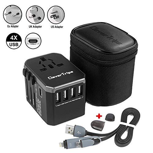 CleverTripsTM Universal Reiseadapter Reisestecker Alles In Einem Weltweit Internationales Ladegerät Netzstecker Travel Adapter mit 5.6A Smart Power USB und 3.0A USB Typ-C für USA EU UK AUS (Black)